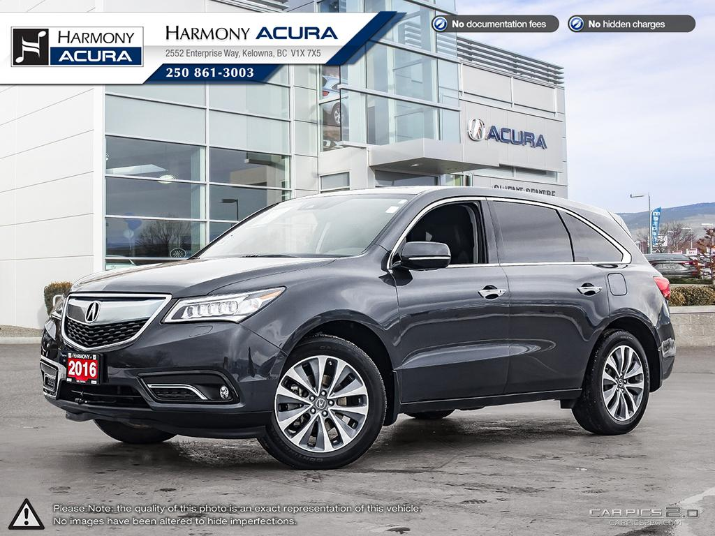 Pre-Owned 2016 Acura MDX NAV PKG - ONE OWNER - LOW KM - SUNROOF - BACKUP CAMERA - NAVIGATION SYSTEM - FACTORY WARRANTY