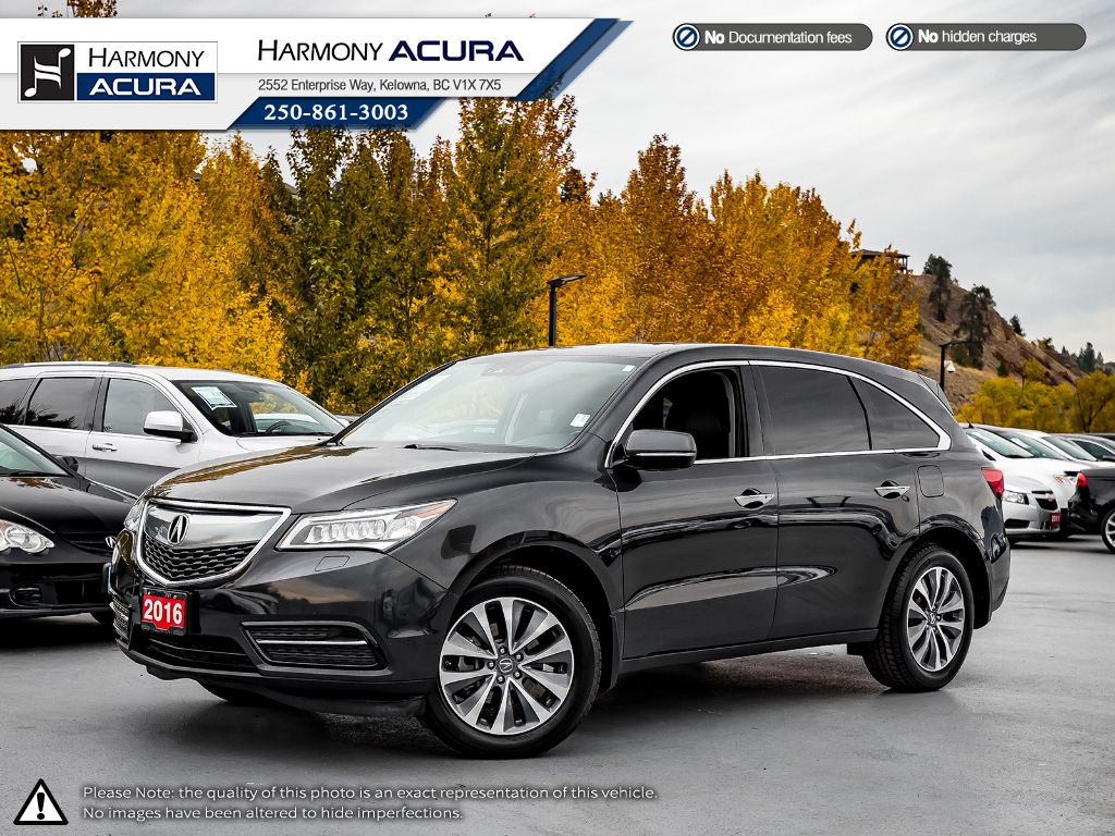 Pre-Owned 2016 Acura MDX NAV PKG - NO ACCIDENTS - SUNROOF - BACKUP CAM - NAV SYSTEM - FACTORY WARRANTY - 3M ROCK PROTECTION