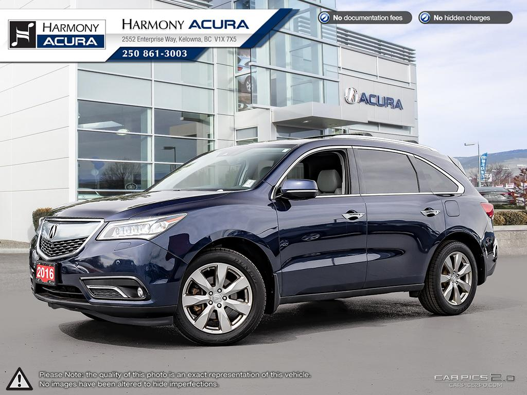 Certified Pre-Owned 2016 Acura MDX ELITE PKG - ACURA CERTIFIED - FACTORY WARRANTY - BC VEHICLE - FULLY SERVICED - NEW TIRES