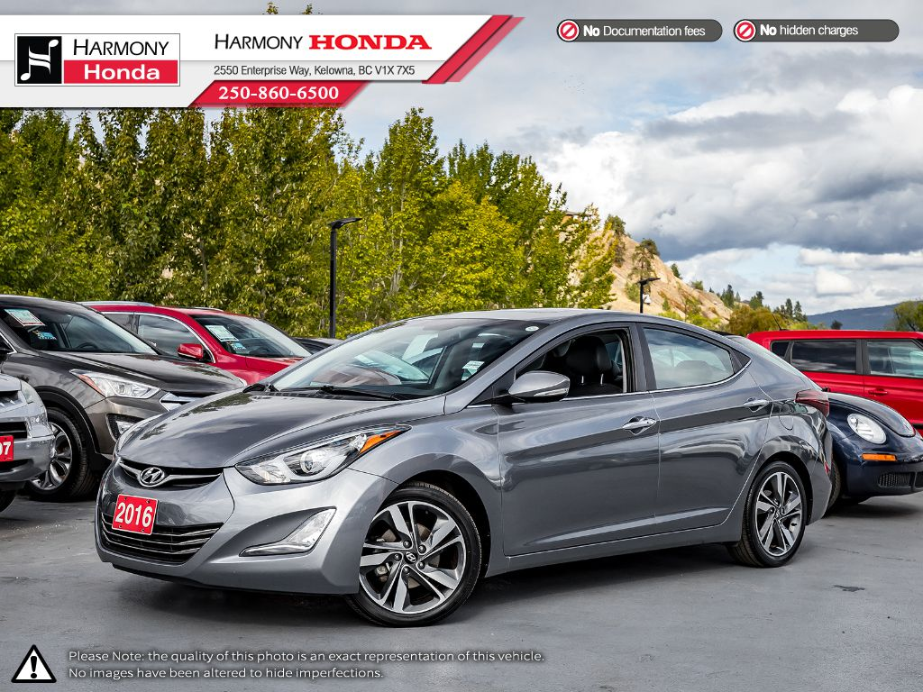 Pre-Owned 2016 Hyundai Elantra LIMITED - ONE OWNER - BC VEHICLE - NON-SMOKER DRIVEN - PET FREE - HOMELINK - LEATHER INTERIOR