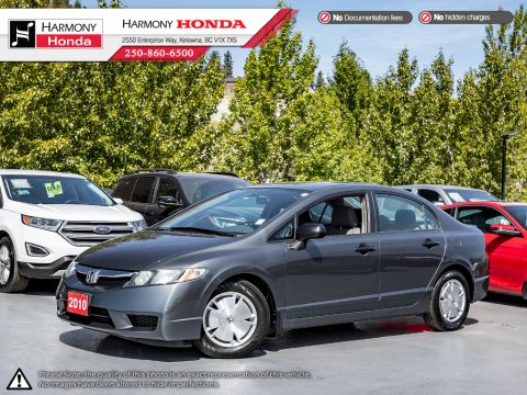 Pre-Owned 2010 Honda Civic Sedan DX-G - LOW KMS - BC VEHICLE - FUEL EFFICIENT - REMOTE KEYLESS ENTRY - SIDE & SIDE CURTAIN AIRBAGS