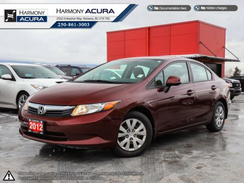 Pre-Owned 2012 Honda Civic Sedan LX - BC VEHICLE - NEW TIRES - RELIABLE - FUEL EFFICIENT