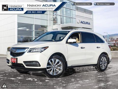 Pre-Owned 2016 Acura MDX NAV PKG - NO ACCIDENTS OR DAMAGE - ONE OWNER - LOCALLY BOUGHT AND SERVICED AT HARMONY - ACURA WATCH