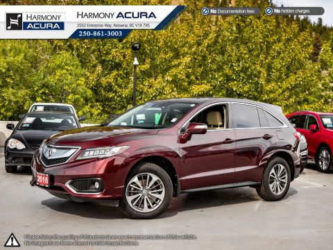 Certified Pre-Owned 2016 Acura RDX ELITE - ACURA CERTIFIED - NO ACCIDENTS - 1 OWNER - SUNROOF - BACKUP CAM - NAV SYSTEM - 3M ROCK GUARD