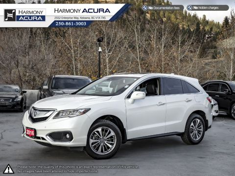 Certified Pre-Owned 2016 Acura RDX ELITE PKG - ACURA CERTIFIED - LOCAL KELOWNA VEHICLE - ACURA WATCH SAFETY TECH - LEATHER