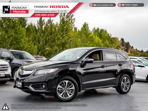 Certified Pre-Owned 2017 Acura RDX ELITE PKG - ACURA CERTIFIED - ONE OWNER - DEALER SERVICED - LOW KMS - NON-SMOKER - PET FREE