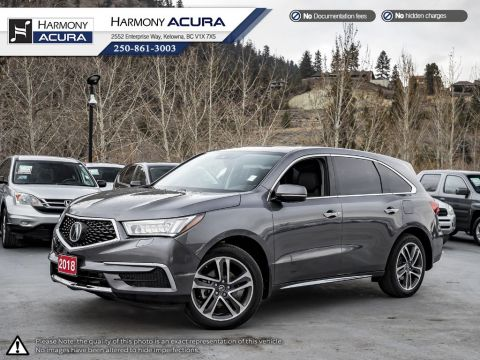 Pre-Owned 2018 Acura MDX NAVI PKG - BC VEHICLE - NO ACCIDENTS - ONE OWNER - LOW KM - SUNROOF - BACKUP CAMERA - NAVI SYSTEM
